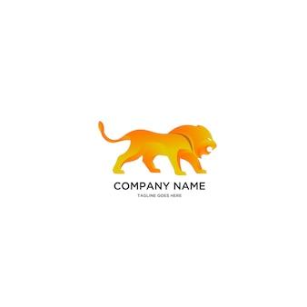 Ilustracja logo złoty lew