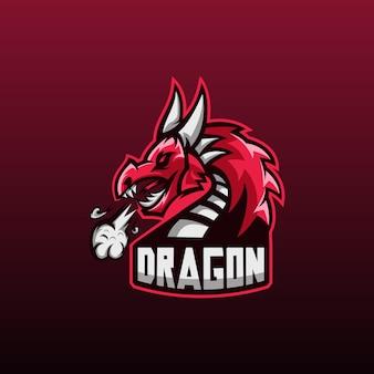Ilustracja logo zły smok sport do gry zespołowej