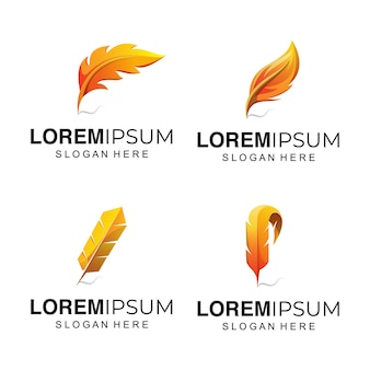 Ilustracja logo żółte pióro