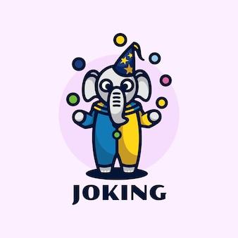 Ilustracja logo żongluje styl kreskówki maskotka.