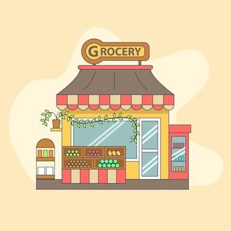 Ilustracja lokalna ilustracja sklepu spożywczego