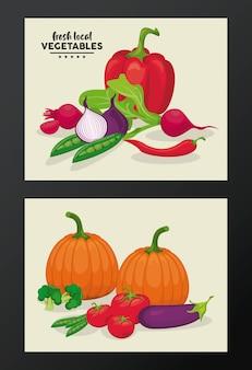 Ilustracja lokalnych świeżych warzyw