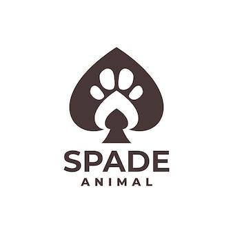 Ilustracja łopaty z odciskiem stopy zwierzęcia w środku dobra dla każdego biznesu związanego z grą karcianą