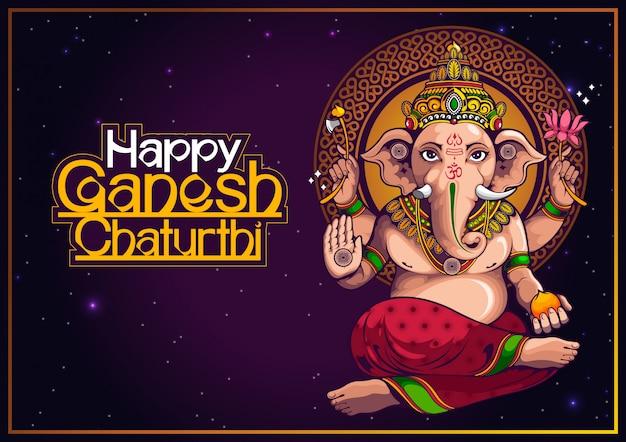 Ilustracja lorda ganesha z indii na tradycyjny festiwal hinduski, ganesha chaturthi.