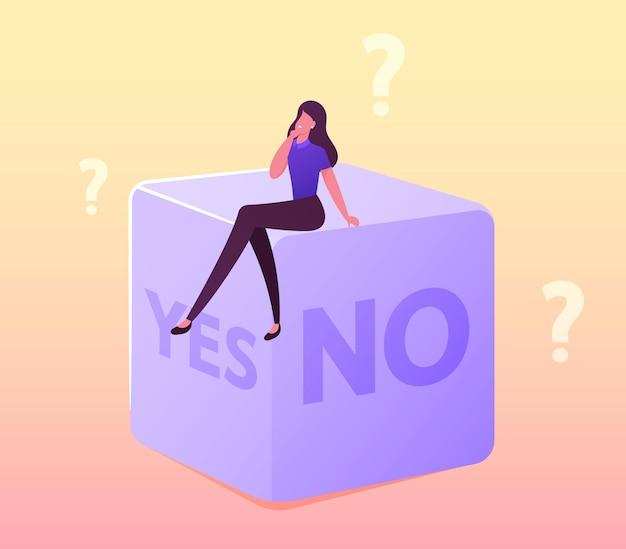 Ilustracja losowego wyboru lub podjęcia trudnej decyzji. drobna postać żeńska siedząca na ogromnych kościach ze stronami tak lub nie