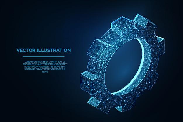 Ilustracja low poly koła zębatego - koncepcja zarządzania i ustawiania wielokątnego niebieskiego modelu szkieletowego