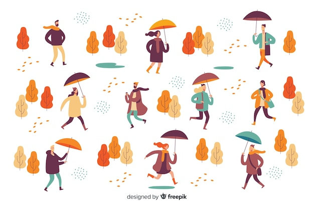 Ilustracja ludzi chodzących jesienią