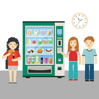 Ilustracja ludzi i automatów lub dystrybutorów przekąsek.