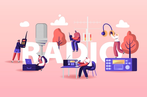 Ilustracja ludzi i radia