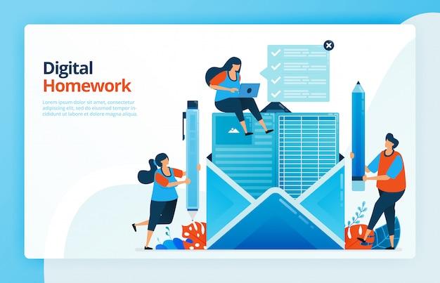 Ilustracja ludzi, którzy odrabiają cyfrową pracę domową za pośrednictwem poczty elektronicznej, przyszłość nauczania na odległość, kursy internetowe.