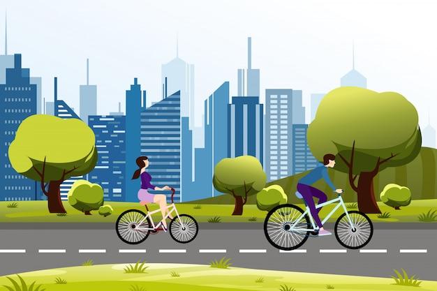 Ilustracja ludzi mężczyzna i kobieta jeżdżąca na rowerze w pobliżu parku miejskiego. tło nowoczesne miasto.