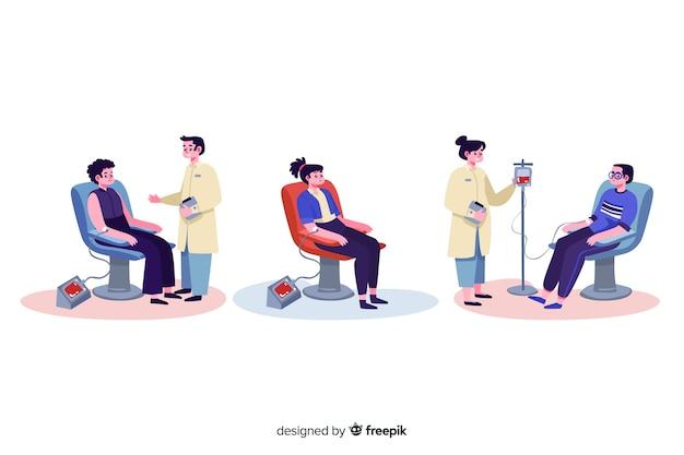 Ilustracja ludzi oddawania krwi