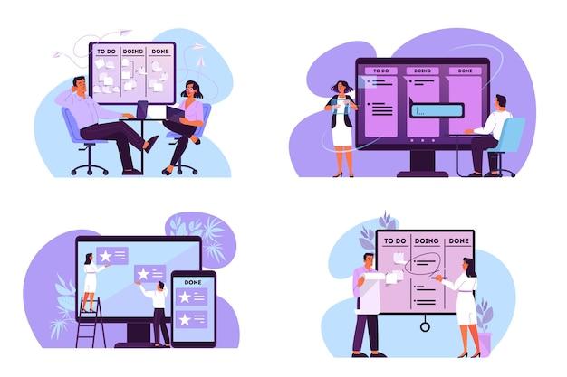 Ilustracja ludzi planujących swój harmonogram, priorytetowe zadania i sprawdzających agendę. idea tablicy kanban, zarządzanie czasem