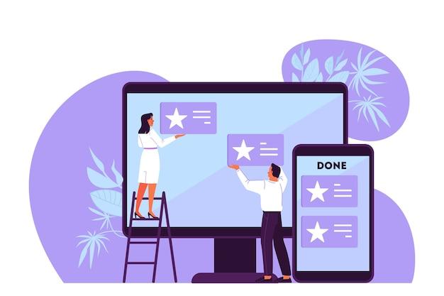 Ilustracja ludzi planujących swój harmonogram, priorytetowe zadania i sprawdzających agendę. kobieta i mężczyzna pracujący na dużym creen. idea tablicy kanban, zarządzanie czasem