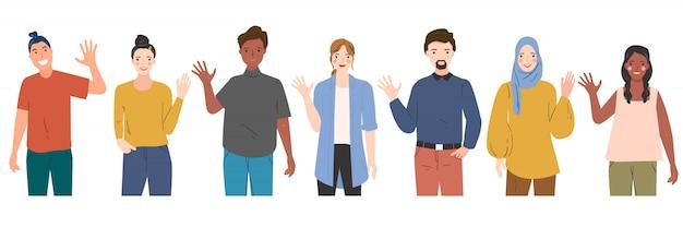 Ilustracja ludzi pozdrowienie gestem, machając ręką, mówiąc cześć. mężczyźni i kobiety w różnych krajach. różnorodność ludzi. ręcznie rysowane nowoczesne