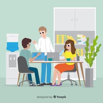 Ilustracja ludzi pracujących w biurze