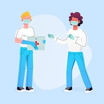 Ilustracja ludzi przekazujących materiały sanitarne