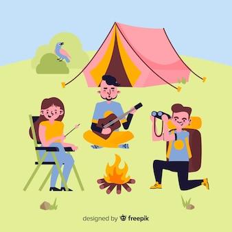 Ilustracja ludzi robi camping