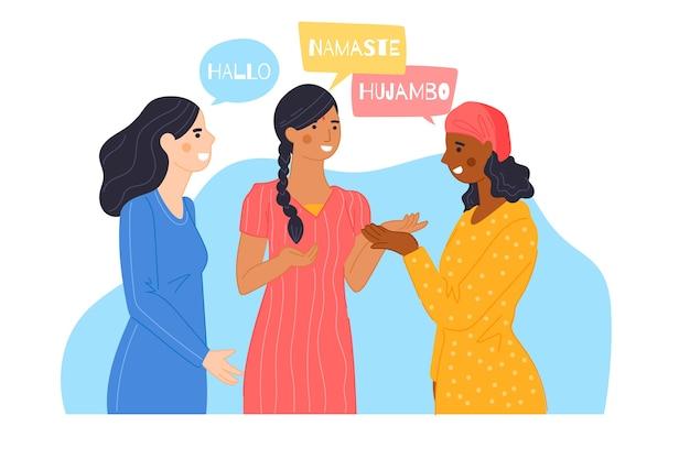 Ilustracja ludzi rozmawiających w różnych językach