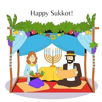 Ilustracja ludzi świętujących sukkot