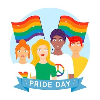 Ilustracja ludzi świętuje dzień dumy
