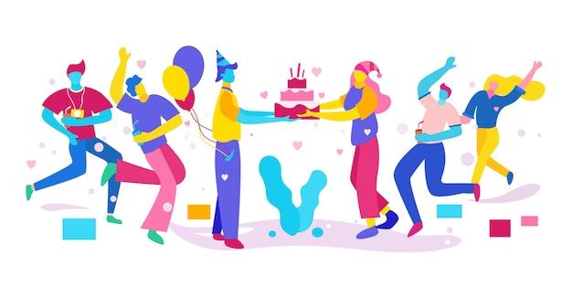 Ilustracja ludzi świętuje urodziny i daje niespodziankę, kolorową.