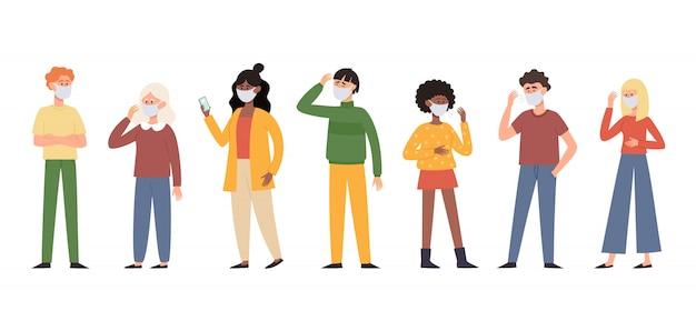 Ilustracja ludzi w ochronne maski przeciwpyłowe na twarz