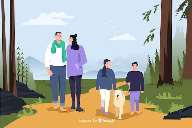 Ilustracja ludzi w parku