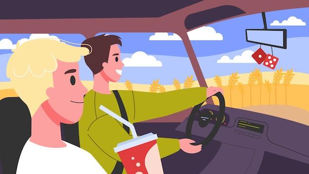 Ilustracja ludzi w swoich samochodach. męskie postacie prowadzące samochód. przyjaciele w samochodzie w drodze.
