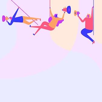 Ilustracja ludzi wiszących pod sufitem z megafonami dokonywanie nowego ogłoszenia. drużyna rysowania linii kołysząc się na górze za pomocą bullhorn promując późne reklamy.
