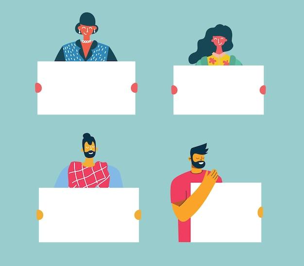 Ilustracja ludzi z banerem do wykorzystania w promocji