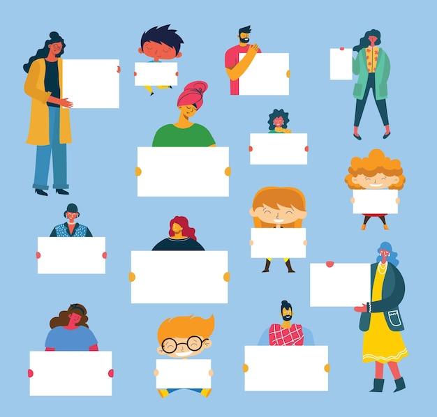 Ilustracja ludzi z banerem do wykorzystania w reklamie