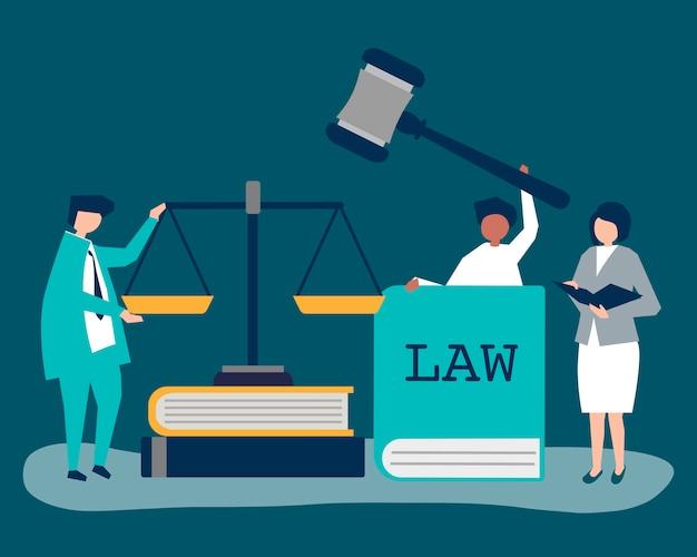 Ilustracja ludzi z ikonami sprawiedliwości i porządku