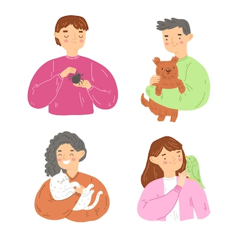 Ilustracja ludzi z różnymi zwierzętami domowymi