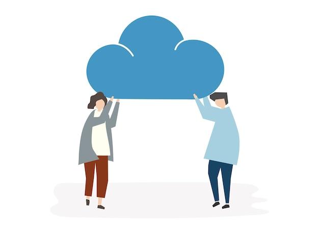 Ilustracja ludzie avatar chmury związku pojęcia