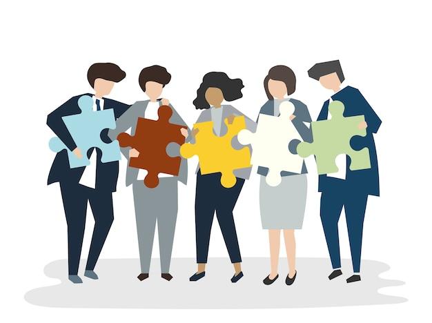 Ilustracja ludzie avatar pracy zespołowej pojęcia