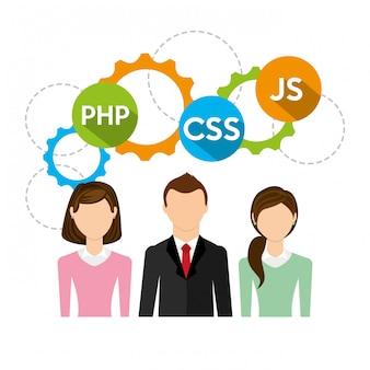 Ilustracja ludzie biznesu i kod oprogramowania