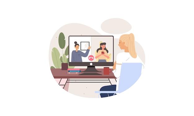 Ilustracja ludzie biznesu o wideokonferencję z kolegami podczas pobytu w domu