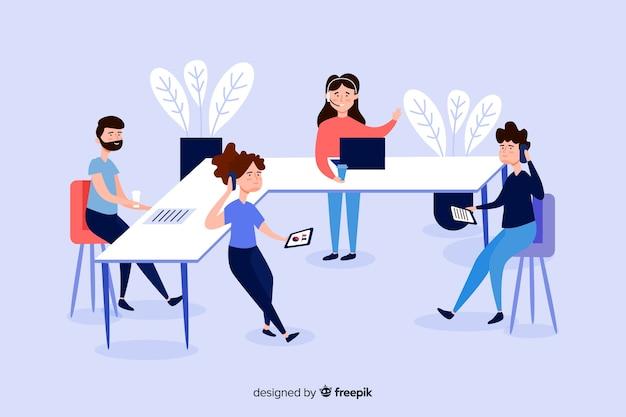 Ilustracja ludzie biznesu przy biurkami