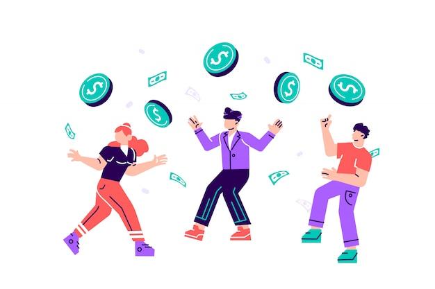 Ilustracja, ludzie cieszą się w deszczu monet, ceny spadają duże oferty. wygrywać na loterii. udany ruch biznesowy. ilustracja nowoczesny projekt płaski na stronie internetowej, karty
