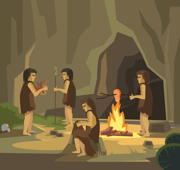 Ilustracja ludzie jaskini