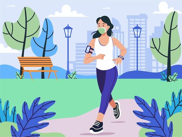 Ilustracja ludzie joggingu w masce w nowym normalnym