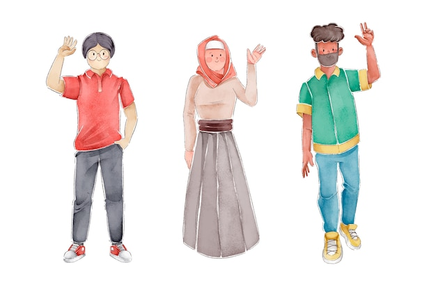 Ilustracja ludzie macha rękami