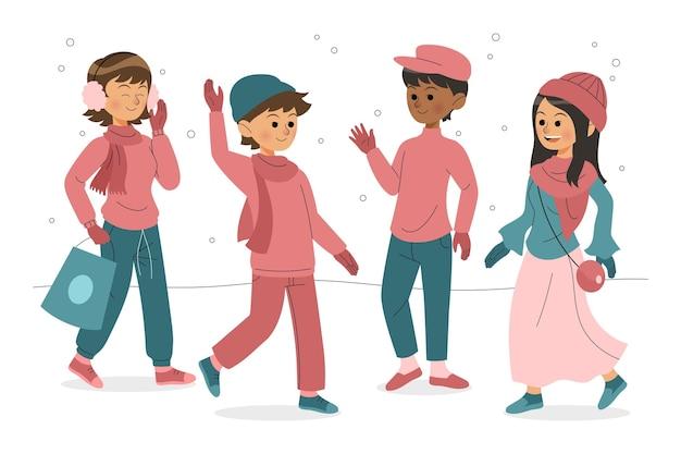 Ilustracja ludzie noszący przytulne ubrania