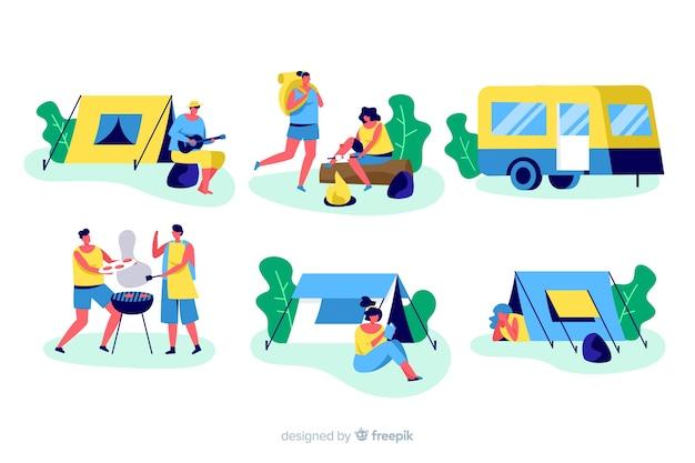 Ilustracja ludzie obozuje w naturze