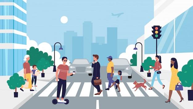 Ilustracja ludzie przekraczania drogi. płaski pieszy postać z kreskówki chodzenie na przejściu dla pieszych zebry na światłach, biznesmen, kierowca segwaya, matka i dziecko na skrzyżowaniu ulicy w tle