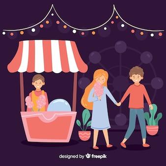 Ilustracja ludzie przy noc jarmarkiem