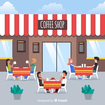 Ilustracja ludzie siedzi w kawiarni
