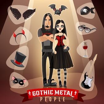 Ilustracja ludzie subkultury gotyckiego metalu