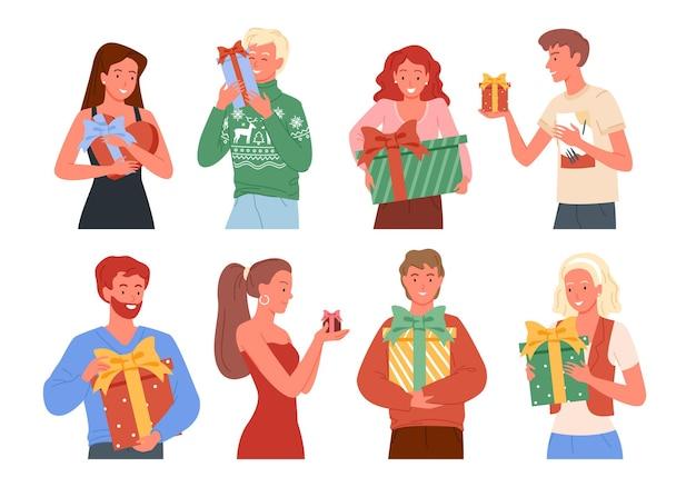 Ilustracja ludzie trzymający prezenty, prezenty świąteczne. szczęśliwi przyjaciele biorą i dają prezenty